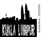 grunge Kuala Lumpur text with skyline illustration