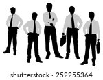 silhouettes of businessmen with ... | Shutterstock . vector #252255364