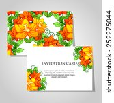 set of invitations with floral... | Shutterstock . vector #252275044