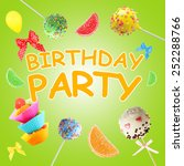 colorful birthday party poster | Shutterstock . vector #252288766
