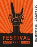 rock festival. vector poster. | Shutterstock .eps vector #252296110