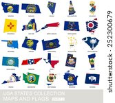 usa state collection  maps and... | Shutterstock .eps vector #252300679