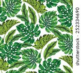 vector seamless tropical leaves ... | Shutterstock .eps vector #252334690