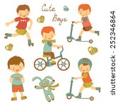 colorful collection of cute... | Shutterstock .eps vector #252346864
