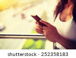 Young woman use cellphone in...