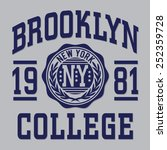 college brooklyn typography  t... | Shutterstock .eps vector #252359728