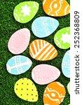 colorful felt easter eggs on... | Shutterstock . vector #252368809