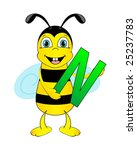 Cute Bee Holding Letter N....