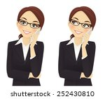 smiling business woman phone... | Shutterstock .eps vector #252430810