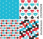 vector set of cute seamless... | Shutterstock .eps vector #252450658