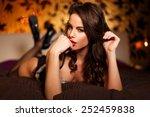 sexy brunette lover in... | Shutterstock . vector #252459838