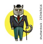 Illustration Of Cat Dressed Up...