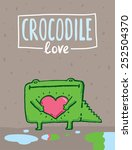 funny crocodile with a heart | Shutterstock .eps vector #252504370