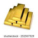one stack of gold bars on white ... | Shutterstock . vector #252507529