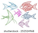 a set of linear stylized fish   ... | Shutterstock .eps vector #252524968