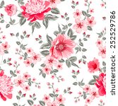 luxurious color peony seamless... | Shutterstock .eps vector #252529786