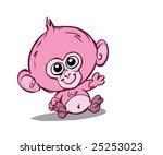 cute pink monkey   Shutterstock . vector #25253023