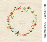 vintage wreath with foliate... | Shutterstock .eps vector #252537328