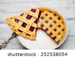 Homemade Cherry Pie On Wooden...