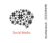 social media icon with brain... | Shutterstock .eps vector #252539698