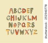 hand drawn alphabet. vector... | Shutterstock .eps vector #252540778