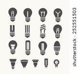 set of silhouettes light bulbs...   Shutterstock .eps vector #252551503