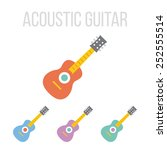 vector acoustic guitar icons.