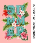 vintage beautiful summer poster.... | Shutterstock .eps vector #252556870