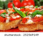 bruschetta with tomato and... | Shutterstock . vector #252569149