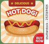 vector hot dog banner   Shutterstock .eps vector #252569404