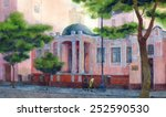 Watercolor Cityscape. Two Women ...