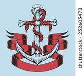 illustration of anchor with red ... | Shutterstock .eps vector #252605473