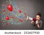 young girl having fun  shouting ... | Shutterstock . vector #252607930