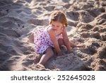 little blond girl with blue... | Shutterstock . vector #252645028
