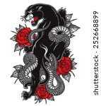 panther snake roses tattoo... | Shutterstock .eps vector #252668899