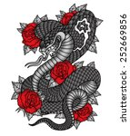 cobra roses tattoo graphic | Shutterstock .eps vector #252669856