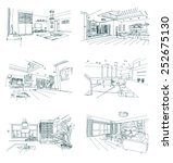 set of hand drawn interior... | Shutterstock .eps vector #252675130