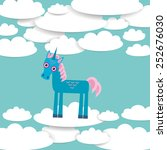 funny unicorn white clouds on... | Shutterstock .eps vector #252676030