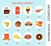 how many calories   | Shutterstock .eps vector #252695269