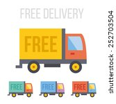 vector free delivery truck... | Shutterstock .eps vector #252703504