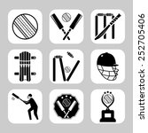 vector cricket related icon set   Shutterstock .eps vector #252705406