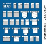 set of simple bed vector icons... | Shutterstock .eps vector #252705694