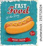 vintage hot dog poster design  | Shutterstock .eps vector #252712024