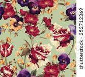 Stock photo seamless floral pattern with tulips pansy and dogrose watercolor 252712369