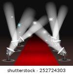 red carpet with spotlights | Shutterstock .eps vector #252724303