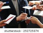 elegant man signing autograph... | Shutterstock . vector #252725374