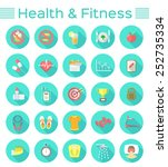modern flat icons of healthy... | Shutterstock . vector #252735334