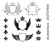 set of winged shields   coat of ... | Shutterstock .eps vector #252737800