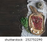 cured pork meat prosciutto on a ... | Shutterstock . vector #252752290
