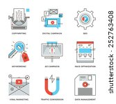 thin line icons of digital... | Shutterstock .eps vector #252763408